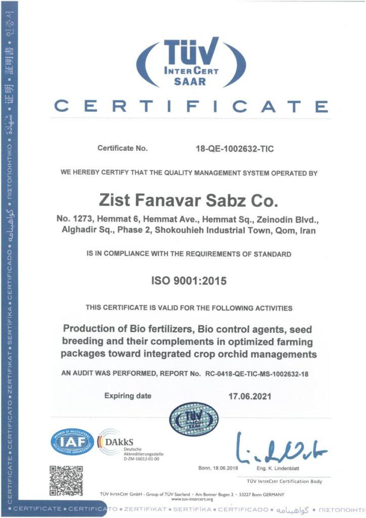 GREEN BIOTECH ISO 9001